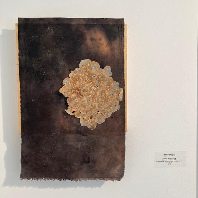 Coton ciré sur bois - teinture de gland de chêne et radis
